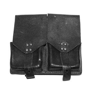 Double magazine pouch FAL black pebble grain leather, holds 2 magazines, Surplus Used