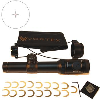 Vortex Viper PST Rifle Scope 30mm Tube 1-4x 24mm 1/2 MOA Adjustments Illuminated TMCQ Reticle Matte with Target Turrets