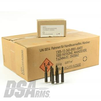 7.62x51 German DAG Production Blank Ammunition - 1000 Round Case